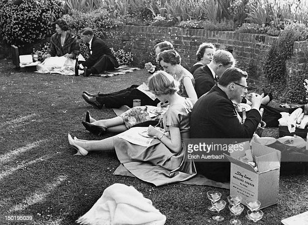 Audience members picnicking at the Glyndebourne Festival Opera East Sussex circa 1960