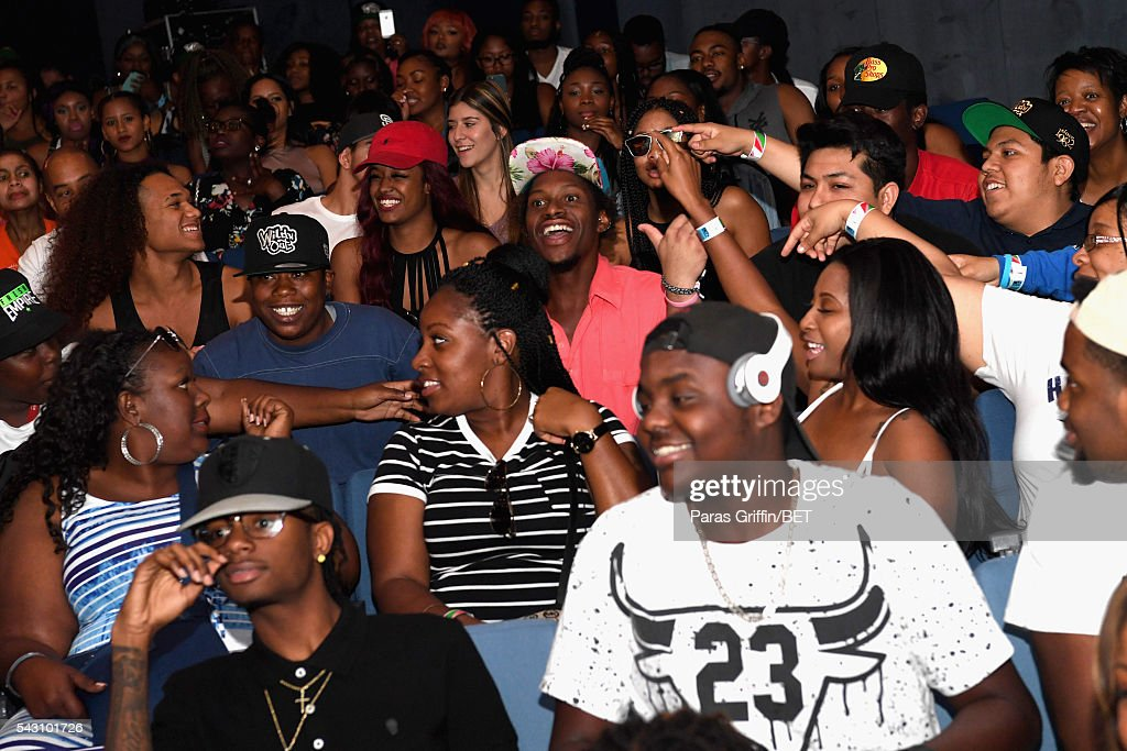 Audience members react at MTV Wild N Out live show during the 2016 BET Experience on June 25, 2016 in Los Angeles, California.
