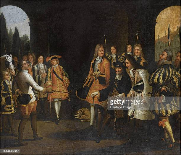 Audience of Louis XIV with Tsar Peter the Great in Versailles First half of the 18th cent Private Collection Artist Anonymous