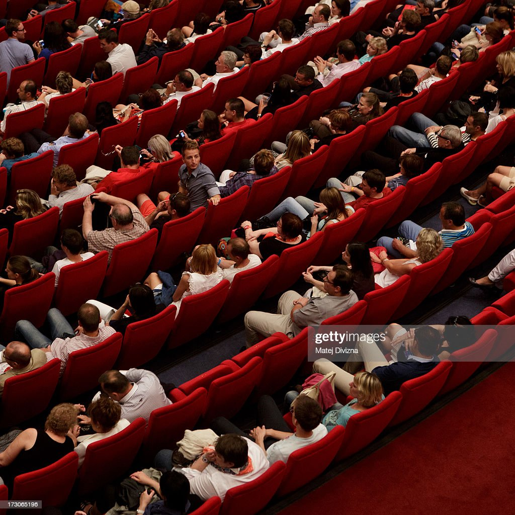 Audience wait for screening during the 48th Karlovy Vary International Film Festival (KVIFF) on July 05, 2013 in Karlovy Vary, Czech Republic.