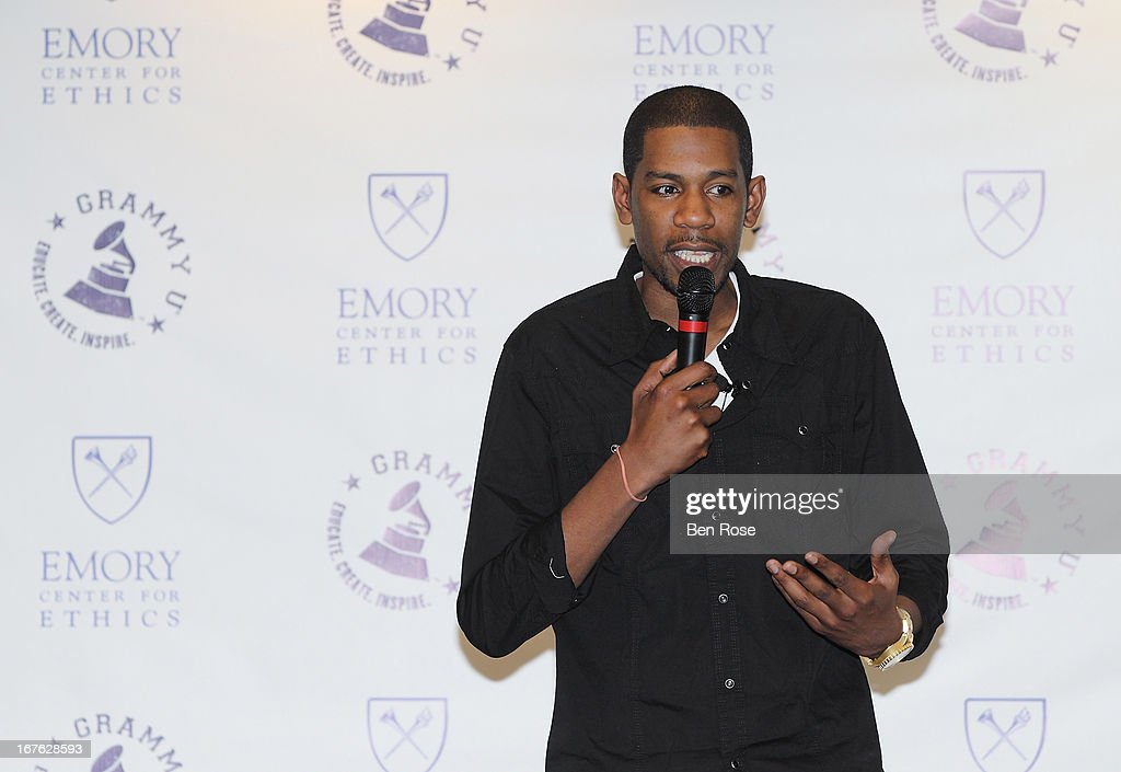 Audio engineer Young Guru speaks to students during GRAMMY U Presents: Era of the Engineer at Emory University Center for Ethics on April 26, 2013 in Atlanta, Georgia.