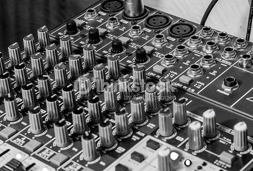 Audio Mixing Desk Recording Studio Black And White Image Stock Photo