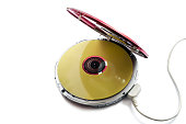 Opened CD audio player with disc inside isolated over white