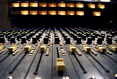 Audio record studio, professional console in recording studio, mixer panel