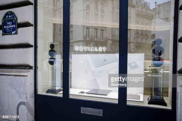 Audio speakers stand in the window of the Devialet SAS Analogue Digital Hybrid amplification technology showroom in Paris France on Friday Jan 27...