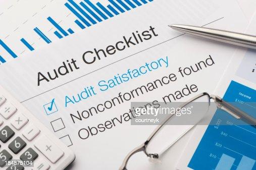 Audit checklist on a desk