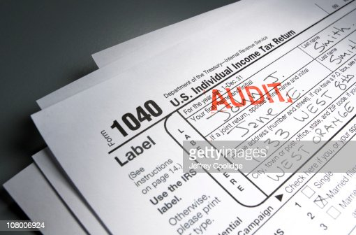Audit Stamp on Tax Form : Stock Photo