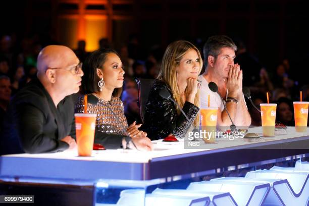S GOT TALENT Auditions Pasadena Civic Auditorium Pictured Howie Mandel Mel B Heidi Klum Simon Cowell