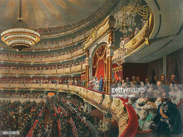 Auditorium of the Bolshoi Theatre Moscow Russia 1856 The home of the famous Bolshoi Ballet Company founded in 1776 the theatre itself opened in 1825...