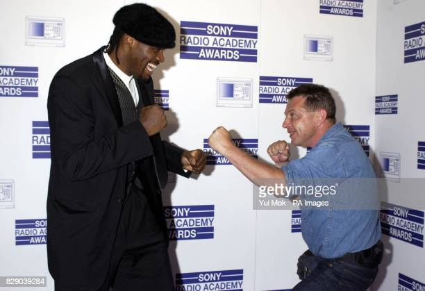 Audley Harrison and Andy Kershaw during the Sony Radio Academy Awards 2004 held at Grosvenor House hotel on Park Lane London