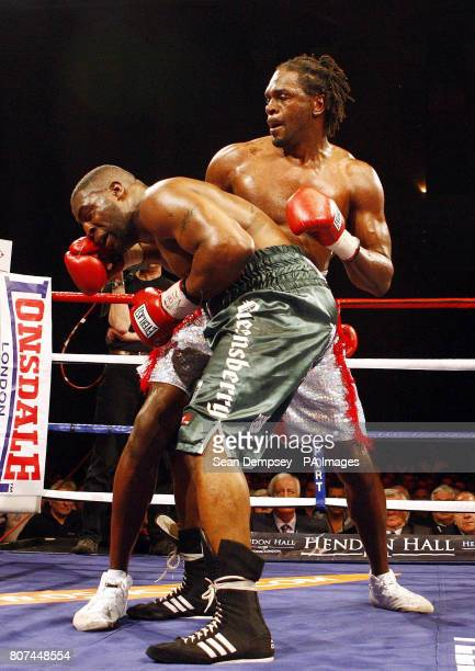 Audley Harrison and Michael Sprott during the Vacant EBU Heavyweight Title bout at Alexandra Palace London