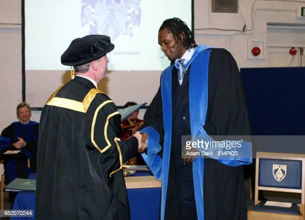 Audley Harrison is awarded an honoury degree by Professor Steve Hodkinson