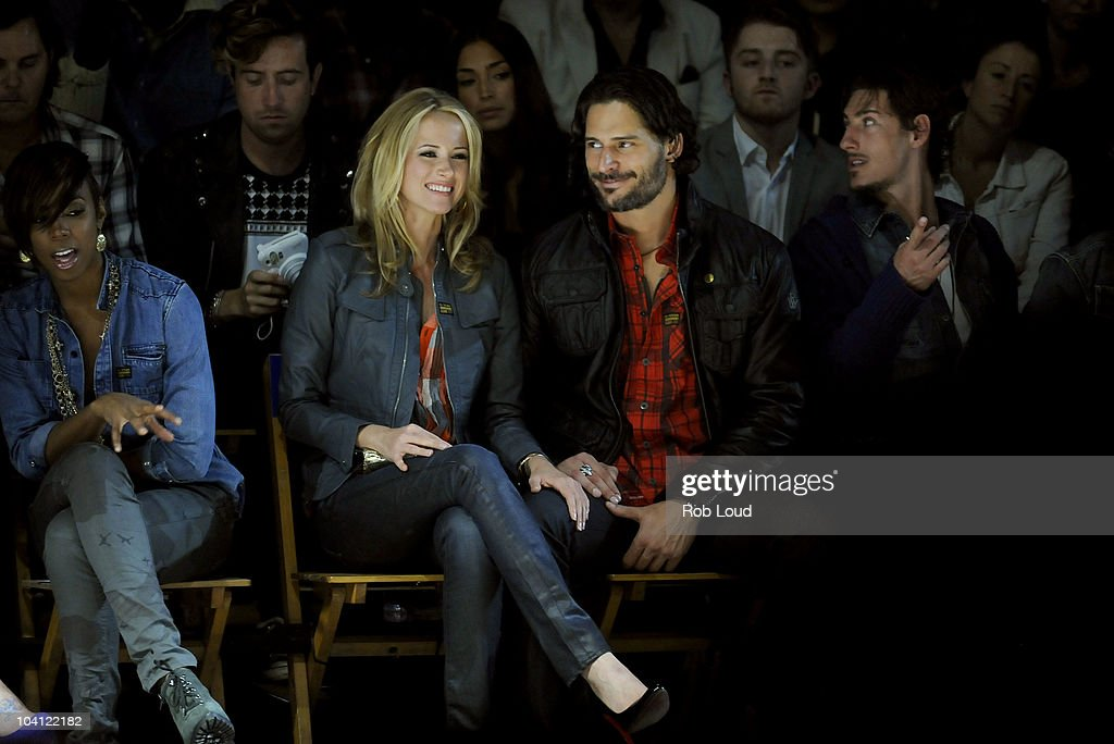 Audra Marie and <a gi-track='captionPersonalityLinkClicked' href=/galleries/search?phrase=Joe+Manganiello&family=editorial&specificpeople=2516889 ng-click='$event.stopPropagation()'>Joe Manganiello</a> attend the G-Star Spring 2011 fashion show during Mercedes-Benz Fashion Week at Pier 94 on September 14, 2010 in New York City.