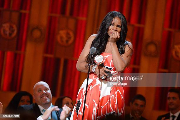 "Audra McDonald accepts the award for Best Performance by an Actress in a Leading Role in a Play for ""Lady Day"" onstage during the 68th Annual Tony..."