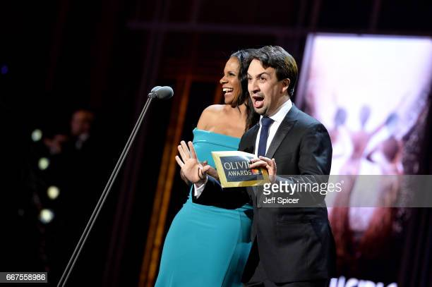 Audra McDonald and Lin Manuel Miranda on stage during The Olivier Awards 2017 at Royal Albert Hall on April 9 2017 in London England
