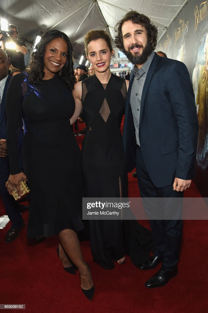 Audra McDonald, Emma Watson, and Josh Groban arrive at the New York special screening of Disney's live-action adaptation 'Beauty and the Beast' at Alice Tully Hall on March 13, 2017 in New York City.