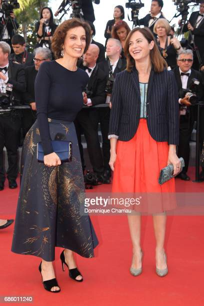 Audrey Azoulay and a guest attend the '120 Beats Per Minute ' screening during the 70th annual Cannes Film Festival at Palais des Festivals on May 20...
