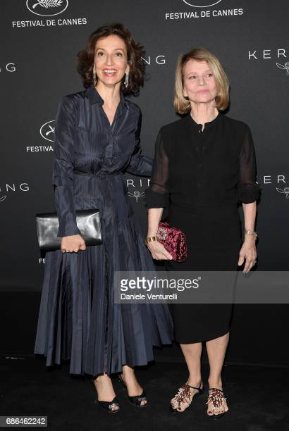 Audrey Azoulay and Nicole Garcia attend the Women in Motion Awards Dinner at the 70th Cannes Film Festival at Place de la Castre on May 21 2017 in...