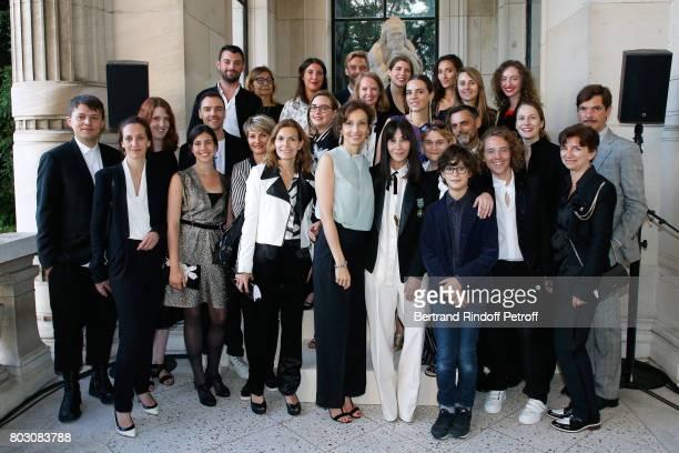 Audrey Azoulay Bouchra Jarrar her nephew Orian and her Team attend Artistic Director of Lanvin Bouchra Jarrar is Decorated 'Officier de l'Ordre des...
