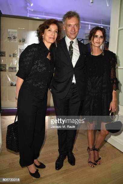 Audrey Azoulay Geoffroy de la Bourdonnaye and Loulou Robert attend Guy Bourdin inaugural exhibition and unveiling of Maison Chloe as part of Paris...