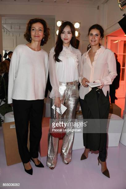 Audrey Azoulay guest and Apolline de Malherbe attend the Chloe show as part of the Paris Fashion Week Womenswear Spring/Summer 2018 on September 28...