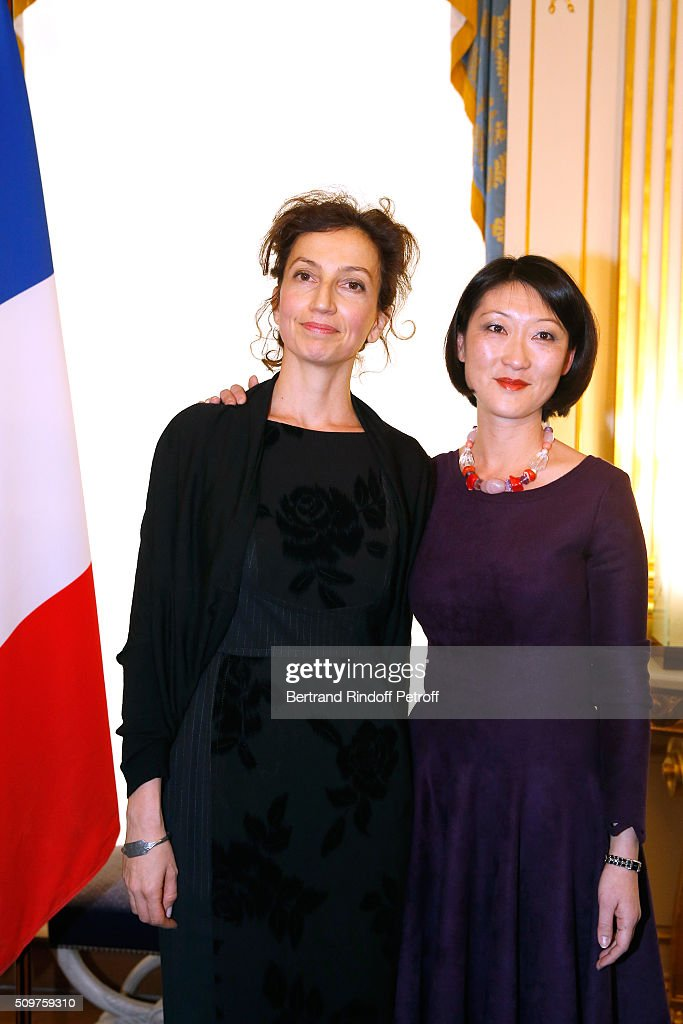 Audrey Azoulay (L) Newly Appointed French Minister of Culture and Communication instead of <a gi-track='captionPersonalityLinkClicked' href=/galleries/search?phrase=Fleur+Pellerin&family=editorial&specificpeople=8784076 ng-click='$event.stopPropagation()'>Fleur Pellerin</a> (R) at Minister of Culture on February 12, 2016 in Paris, France.