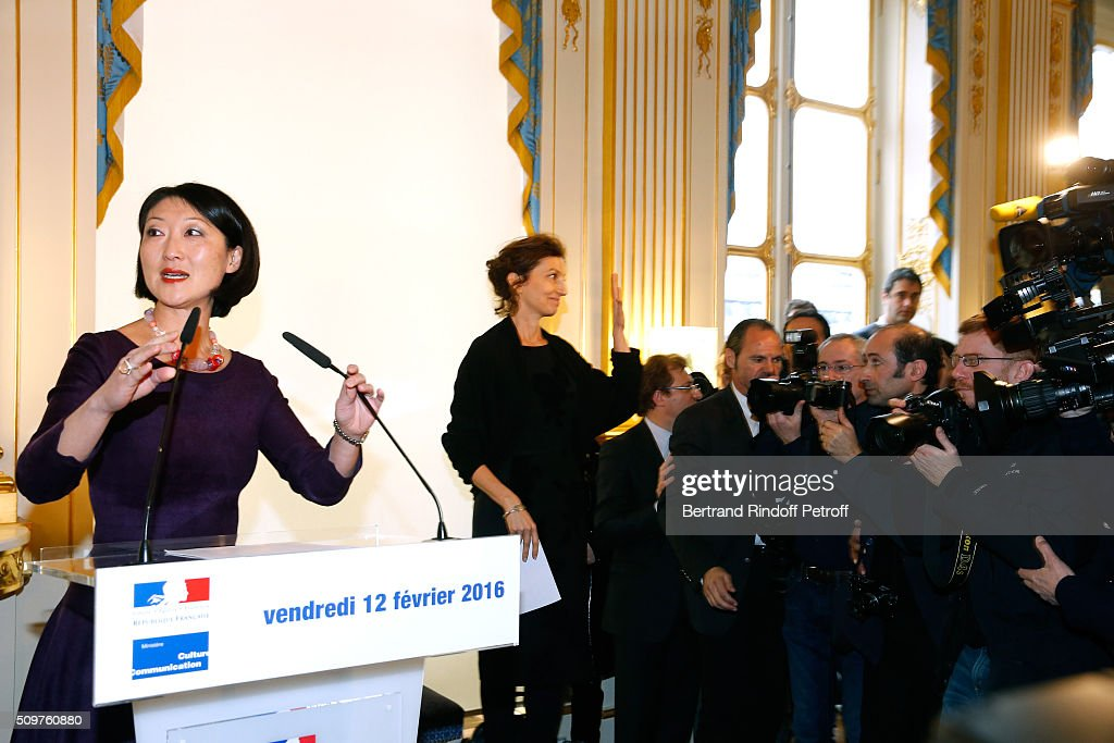 Audrey Azoulay (R) Newly Appointed French Minister of Culture and Communication instead of <a gi-track='captionPersonalityLinkClicked' href=/galleries/search?phrase=Fleur+Pellerin&family=editorial&specificpeople=8784076 ng-click='$event.stopPropagation()'>Fleur Pellerin</a> (L) at Minister of Culture on February 12, 2016 in Paris, France.