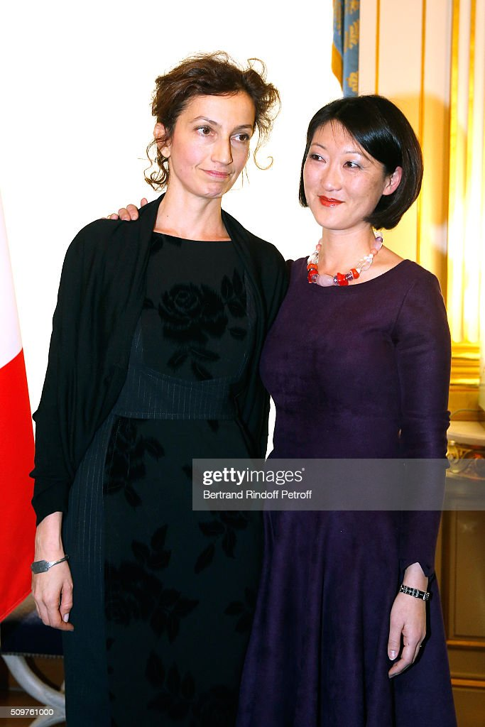 Audrey Azoulay (L) Newly Appointed French Minister of Culture and Communication instead of Fleur Pellerin (R) at Minister of Culture on February 12, 2016 in Paris, France.