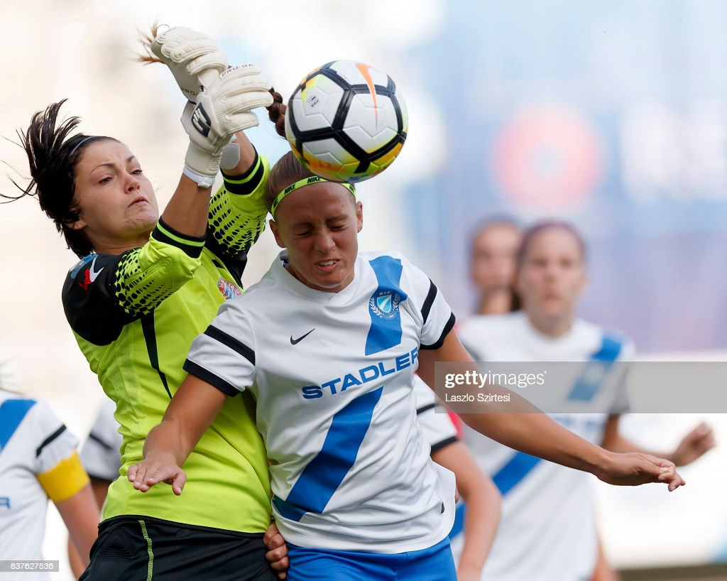Audrey Baldwin (L) of WFC Hajvalia competes for the ball in the air with Barbara Toth (R) of MTK Hungaria FC during the UEFA Women's Champions League Qualifying match between MTK Hungaria FC and WFC Hajvalia at Nandor Hidegkuti Stadium on August 22, 2017 in Budapest, Hungary.