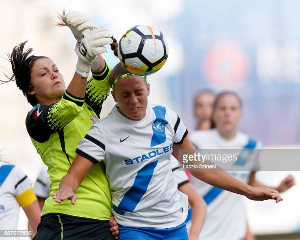 Audrey Baldwin of WFC Hajvalia competes for the ball in the air with Barbara Toth of MTK Hungaria FC during the UEFA Women's Champions League...