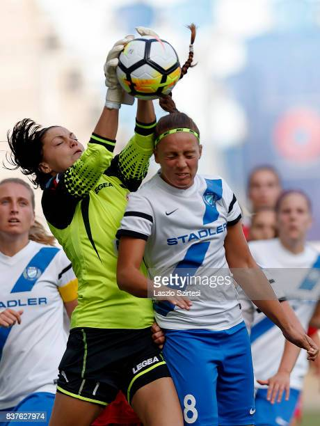 Audrey Baldwin of WFC Hajvalia wins the ball in the air from Barbara Toth of MTK Hungaria FC during the UEFA Women's Champions League Qualifying...