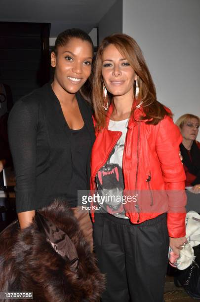 Audrey Chauveau and Elsa Fayer attend the Franck Sorbier Front Row Paris Fashion Week Haute Couture S/S 2012 at the Pavillon Vendome on January 25...