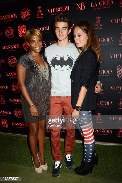 Audrey Chauveau Antoine Thivichon Prince and Jean Roch's daughter Gioia Ameriga Pedri attend the Tinder Party at the VIP ROOM on August 2 2013 in...