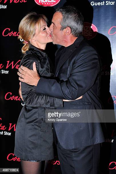 Audrey CrespoMara and Thierry Ardisson attend the Conchita Wurst Crazy Horse Show Premiere at Le Crazy Horse on November 9 2014 in Paris France