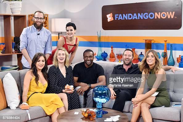 Audrey Esparza Martin Gero Ashley Johnson Jaimie Alexander Rob Brown and Sullivan Stapleton of NBC's 'Blindspot' visit with Fandango host Nikki Novak...