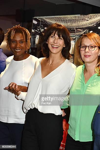 Audrey Estourgo Sophie Marceau and Marie Sohna Conde attend 'La Taularde' Paris Premiere At UGC Cine Cite Les Halles on September 13 2016 in Paris...