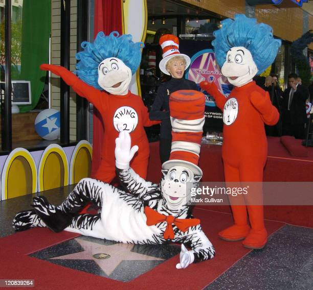 Audrey Geisel wife of the late Dr Seuss with Thing 1 2 and The Cat in The Hat at the Dr Seuss Star on Hollywood Walk of Fame