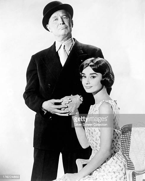 Audrey Hepburn and Maurice Chevalier in a promotional portrait for 'Love In The Afternoon' directed by Billy Wilder 1957