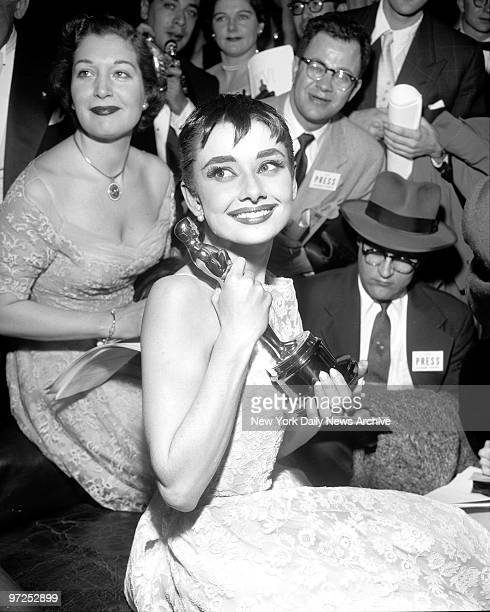 Audrey Hepburn holds her Academy Award Oscar she earned for her role in 'Roman Holiday' New York City