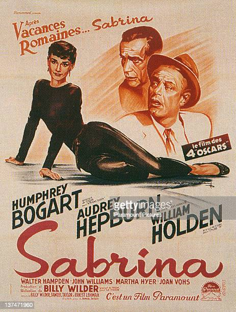 Audrey Hepburn Humphrey Bogart and William Holden feature on a French language poster for Billy Wilder's romantic comedy 'Sabrina' 1954