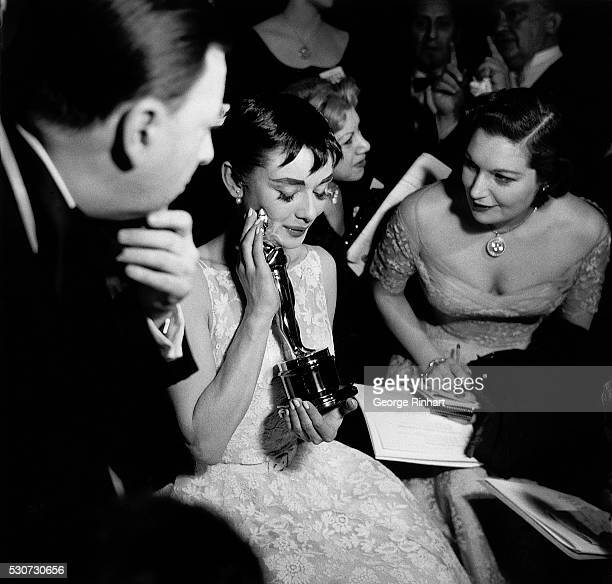 3/1954 Audrey Hepburn receives an Academy Award with her first appearance in an American picture March 1954 for 'Roman Holiday'