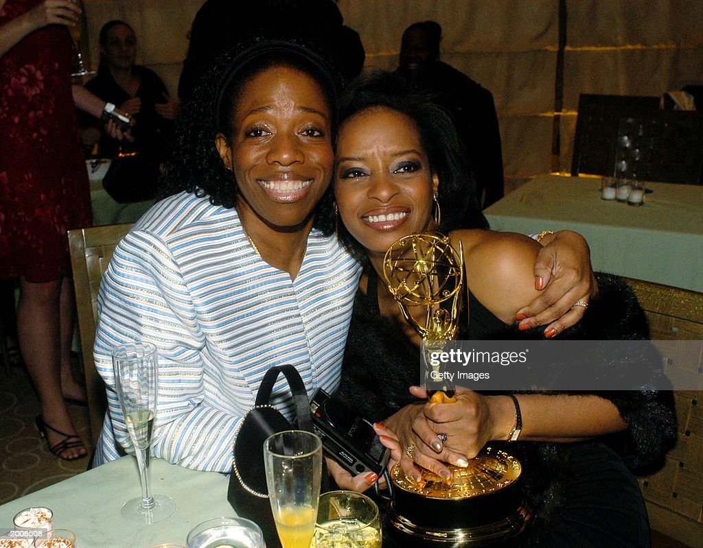Audrey Jones (R), producer of 'The View', poses with her Best Daytime Talk Show award and an unidentified friend at the ABC after party for the 30th Annual Daytime Emmy Awards at the Sea Grill Restaurant May 16, 2003 in New York City.