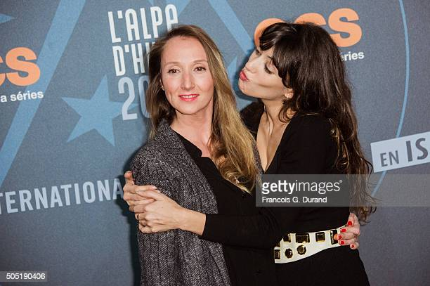 Audrey Lamy and Vanessa Guide pose at a photocall during the 18th L'Alpe D'Huez International Comedy Film Festival on January 15 2016 in Alpe d'Huez...