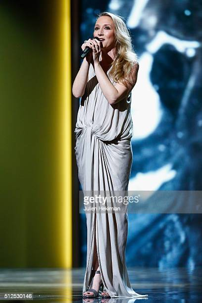 Audrey Lamy sings on stage during The Cesar Film Award 2016 at Theatre du Chatelet on February 26 2016 in Paris France