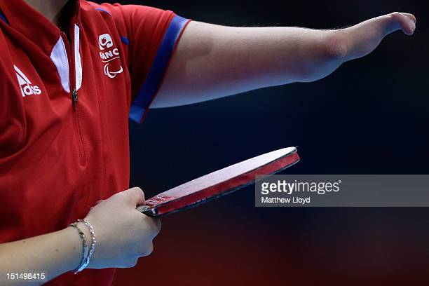 Audrey Le Morvan of France prepares to serve against Poland in the Women's Team Table Tennis Classes 610 bronze medal match on day 10 of the London...
