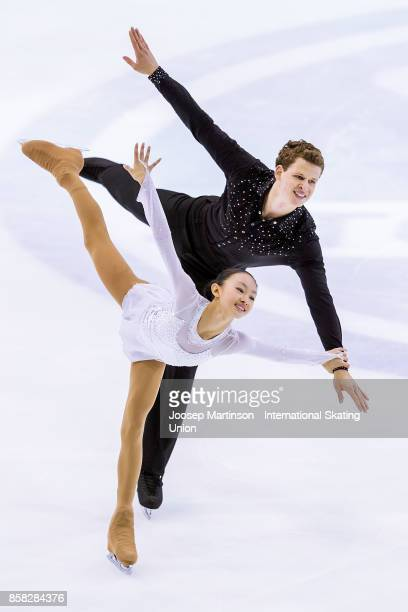 Audrey Lu and Misha Mitrofanov of the United States compete in the Pairs Free Skating during day two of the ISU Junior Grand Prix of Figure Skating...