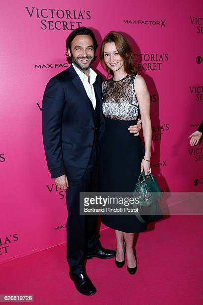 Audrey Marnay and her companion Virgile Bramly attend the 2016 Victoria's Secret Fashion Show Held at Grand Palais on November 30 2016 in Paris France