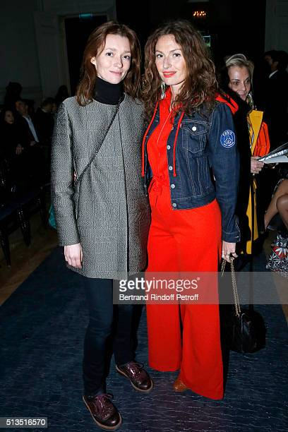 Audrey Marnay and Singer of Musical Group 'Les Brigitte' Aurelie Saada attend the Alexis Mabille show as part of the Paris Fashion Week Womenswear...