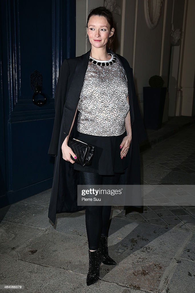 Audrey Marnay arrives at the Alexis Mabille show as part of Paris Fashion Week Haute-Couture Spring/Summer 2014 on January 20, 2014 in Paris, France.