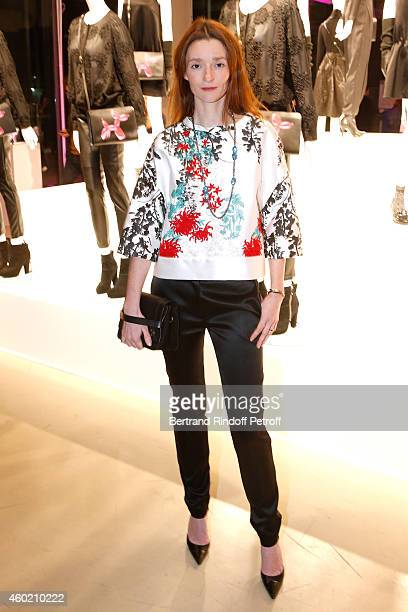 Audrey Marnay attends the Handbag Jeff Koons Presentation during the 'Fashion Loves Art' Cocktail Event hosted by HM on December 9 2014 in Paris...